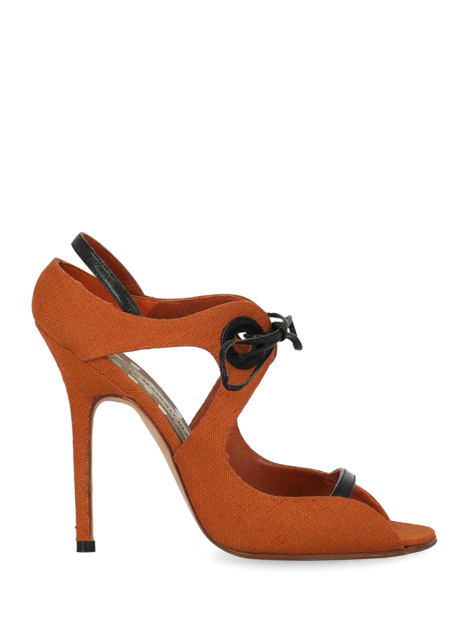 Pre-owned Manolo Blahnik Shoe In Black, Orange