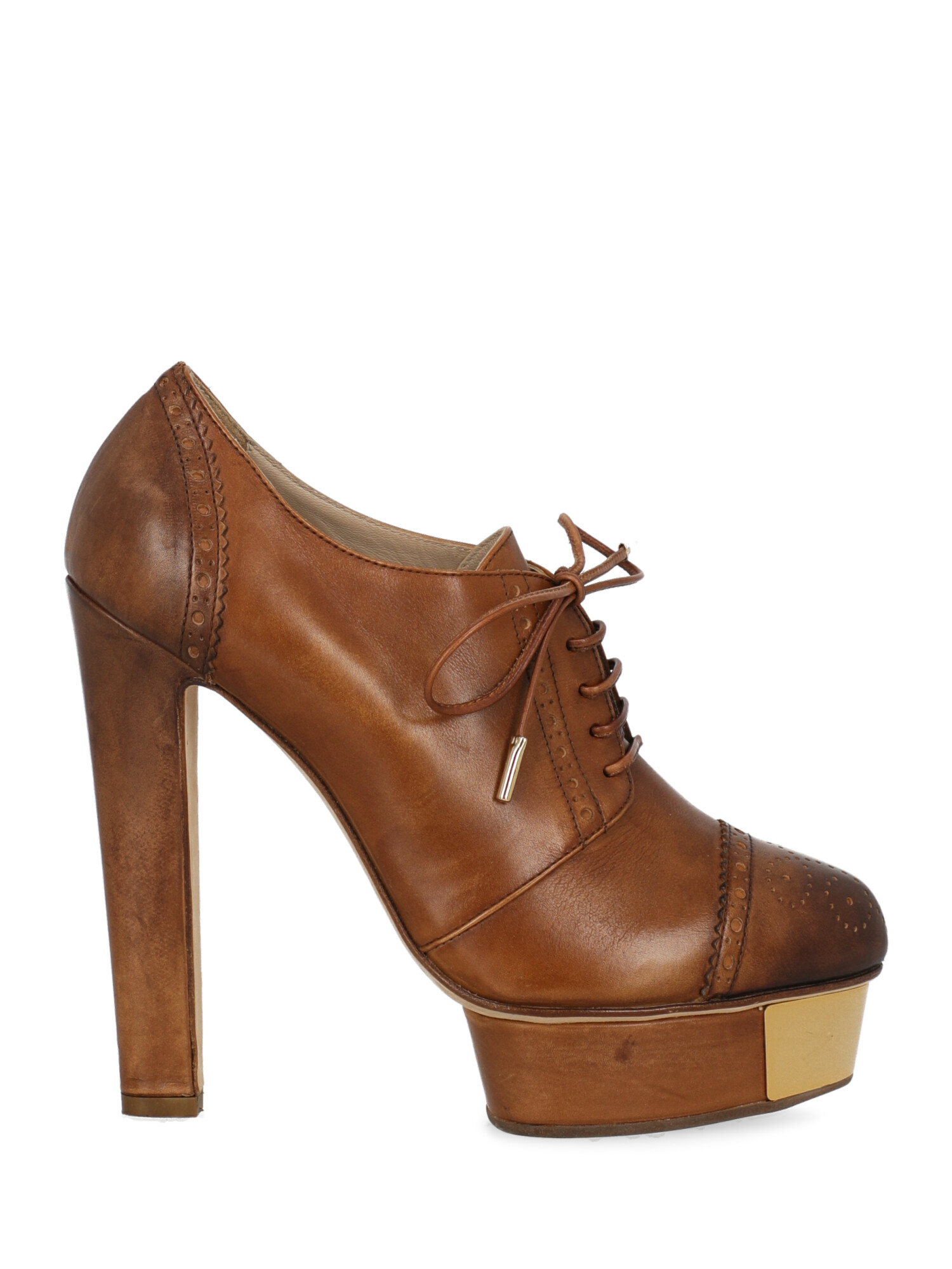 Pre-owned Le Silla Shoe In Camel Color